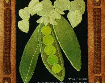 """Wool applique PDF downloadable e-PATTERN """"Peas in a Pod"""" wall hanging from the series """"My Kitchen Garden"""" hand dyed wool felted wool"""