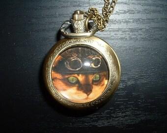 Bronze Pocket Watch model custom cat steampunk with its chain 80 cm