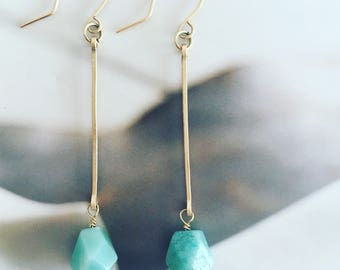 Amazonite, Boho earrings, minimalist earrings, dangle earrings, bridesmaid earrings, gold earrings, delicate earrings, long earrings