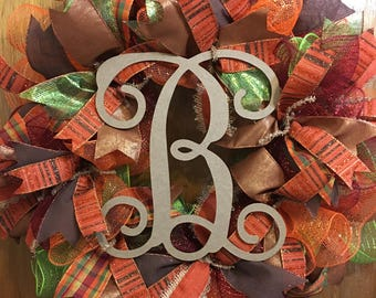 Monogram Autumn Wreath, Fall Wreath, Autumn Wreath, Thanksgiving Wreath