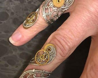 Steampunk Armor Ring, Full Finger Ring, Nail Guard Ring, Steampunk Ring, Filigree Wrap Ring, Free Shipping USA