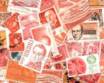 40 Orange Vintage Postage Stamps