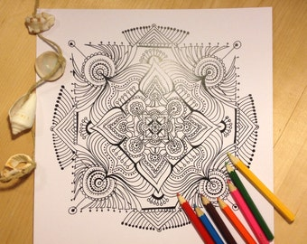 Mandala/coloring page/Instant download/coloring/adult coloring pages/colouring pages/ PRINTABLE /coloring pages/ download /INTUITION mandala