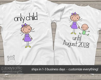 big sister shirt  - only child no more perfect big sister to be pregnancy announcement tshirt MOCH-008