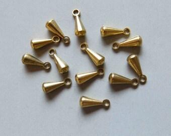 100pcs Solid Raw Brass Teardrop Charm 9.5mm x 3.5mm - F354