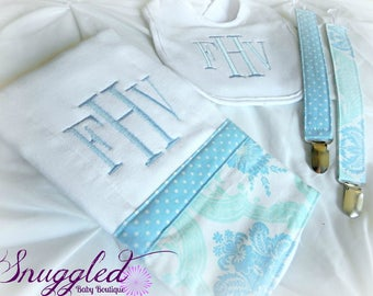 Baby Boy Blue Monogrammed Damask Gift Set- Burp Cloth, Bib, Pacifier Clips