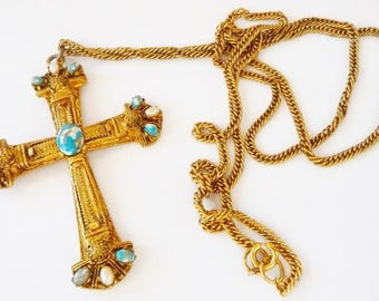 vintage brass bronze cross necklace | faux turquoise | faux pearl | art glass cabs | Nasrani cross | St. Thomas cross | christian catholic