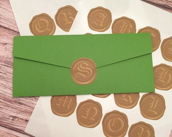PRINTED Set of 48 Wax Seal Stickers - Matte Sticker Paper, Custom Cut Shape - 3 Sheets of 16 Labels with ONE Letter