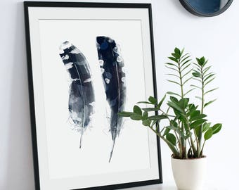 Feather Print. Feather Picture. Feather Art. Feather Painting. Boho Art. Blue Feathers. Green Lili