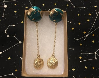 Earth and Moon Drop Earrings