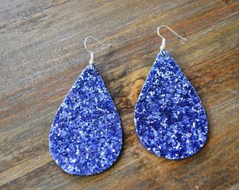 Glitter Earrings, Periwinkle Blue Glitter Earrings, Statement Earrings
