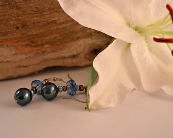 Gold & Blue Dangle Earrings