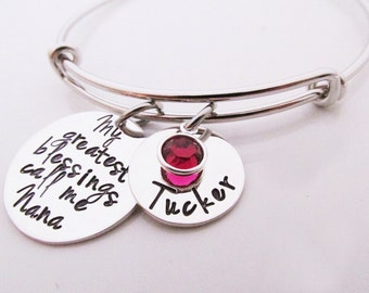 Personalized Gift for Nana - My Greatest Blessings Adjustable Bracelet - Hand Stamped Jewelry - Personalized Bangle Bracelet - Nana Bracelet