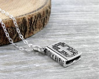 Holy Bible Necklace, Sterling Silver Bible Charm on a Silver Cable Chain