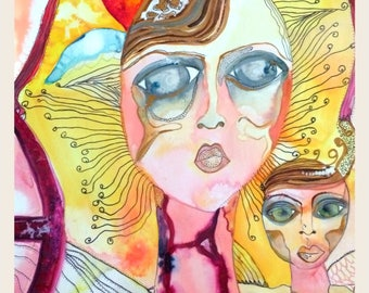 My Alien Romance A3 Print... Ethereal Beings Collection, Watercolour Print