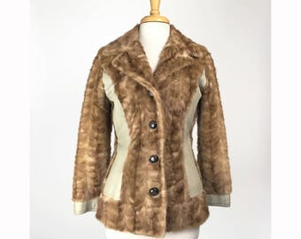 Vintage Leather & Fur Jacket 1960s Coat Small Brocade Lining