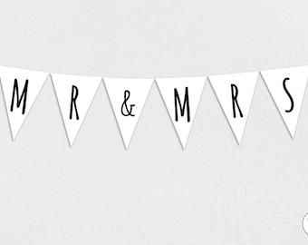 Mr & Mrs Garland, Bunting, Banner, wedding, bride, groom, Honeymoon, Instant Download, printable,