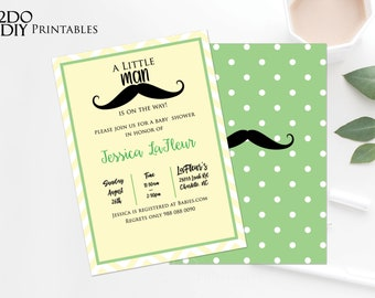 Mustache Baby Shower Invitation Printable | Little Man Invitation Baby Shower Invites Boy Baby Shower | Yellow | Green | 0058