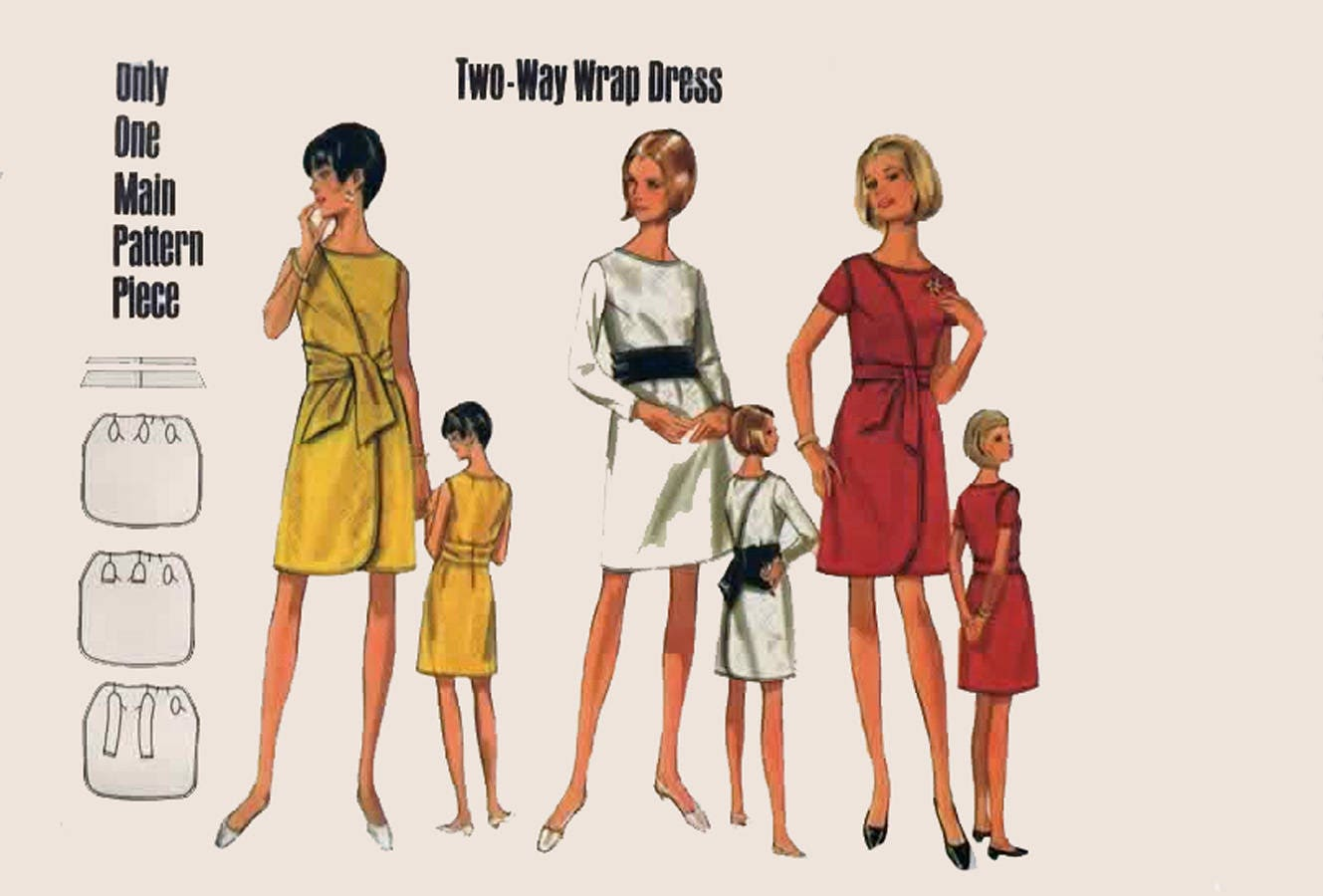 Vintage 1960s MOD Two- Way Front and Back WRAP Dress Sewing Pattern ...
