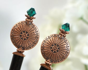 "Copper Hair Sticks Beaded Hairsticks Handmade Hair Sticks Japanese Bun Pins Hair Chopsticks - ""Endless Skies"""