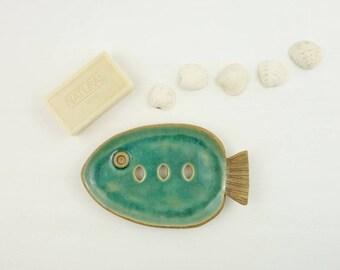 soap dish, ceramic fish soap dish, blue soap holder, draining soap dish, soap tray