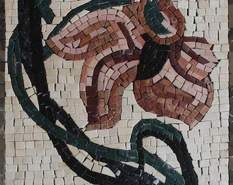 Small Bent Fragile Flower Gift Idea Wall Art Marble Mosaic FL448