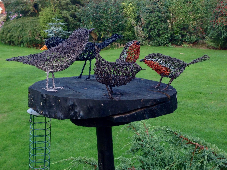 2 Vogel Draht Skulpturen Metall Garten Skulptur.