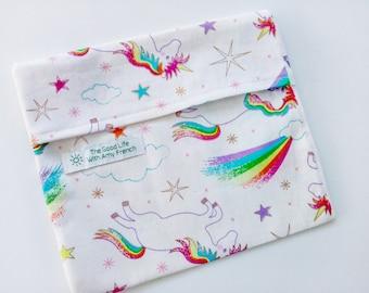 Reusable Sandwich Bags - Unicorns & Rainbows - Plastic free