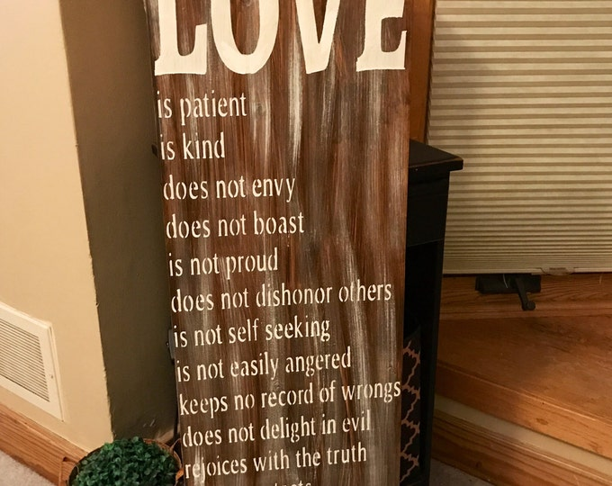 Love Is Patient Love Is Kind Corinthians 13 Handmade Rustic Large Wood Sign