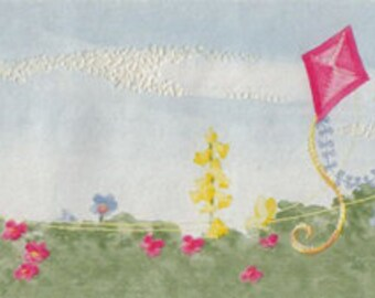 Bunny Rabbits Flying Kites Wall Border by William Arthur Fine Stationary