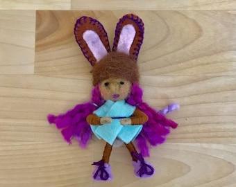 Easter Bunny Bendy Doll, Felt Fairy, Dollhouse Fairy, OOAK, Handmade, Waldorf fairy, Wee Folk, Woodland Fairy, Elf, Felt gnome, Spring bunny