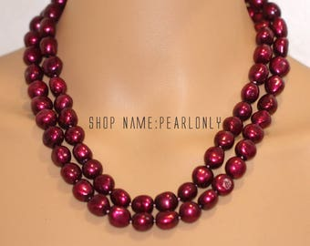 30inch,40inch,60inch, extra long pearl necklace, 12-13mm wine red freshwater baroque pearl opera endless necklace,bridesmaid necklace gift