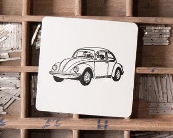 Pack 25 Letterpress Classic Cars Coasters Volkswagen Beatle