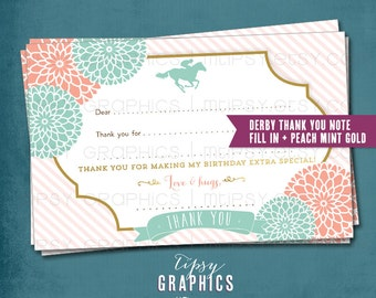 Kentucky Derby Thank You Card. DiY Printable ADD ON. Made to Match any Tipsy Graphics Design