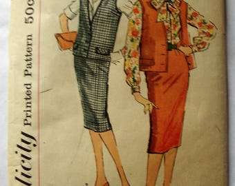 Vintage 1950's 1960's Jacket, Skirt and Blouse Pattern