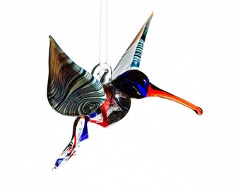 Red and Blue Glass Hummingbird with Infused Cremation Ash