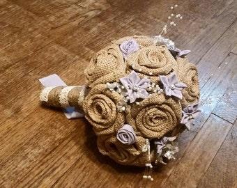 Burlap Bouquet, Fabric Flower Bouquet, Rustic Bouquet, Bride Bouquet, Rose Bouquet, Lace and Burlap, Twine Wrapped, Star Flower