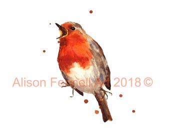 BIRD Art Prints, robin bird, Red ROBIN, Christmas decor