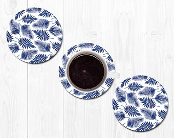Coasters for Drinks Hostess Gift Coaster New Home Gift Housewarming Gift Blue Leaf Coasters Tropical Coasters Home Decor Best Friend Gift
