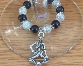 Handmade skeleton wine glass charm