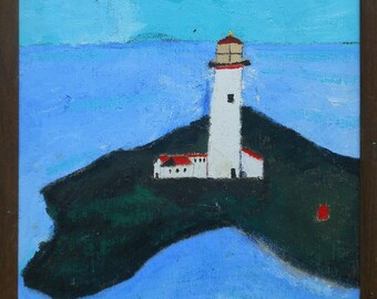 vintage folky light house painting oil on panel