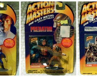 Action Master Vtg Die Cast Metal Figures Aliens  Terminator   Predator  Near Mint in Box MIB