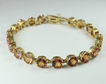 Minimalist 14ct Yellow Gold Pink Mystic Topaz Bracelet