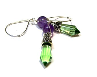 ON SALE TODAY Amethyst Green Crystal Cone Earrings, Art deco Earrings, Silver Tibetan Earrings, gift for her, gift for friend
