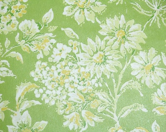 Retro Wallpaper by the Yard 70s Vintage Wallpaper - 1970s White and Yellow Flowers on Lime Green