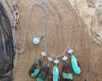 Chrysoprase Necklace | Pearl Chalcedony Necklace | Amethyst Necklace | Bohemian Necklace | Gemstone Necklace