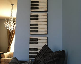 Vintage Inspired Piano Wall decor, Music room decor, Piano wall art, Piano Painting, Piano decor, Music room art, Artwork for music room