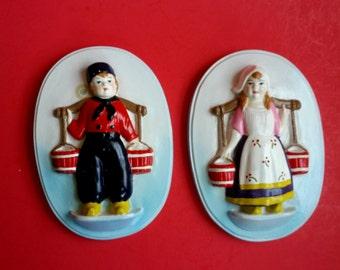 Dutch boy and girl figurine wall plaques, vintage chalkware/plaster - B3