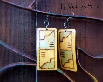 Vintage 1980's Earrings, Southwest Style Earrings, Large Statement Earrings, Unique Jewelry, Bohemian