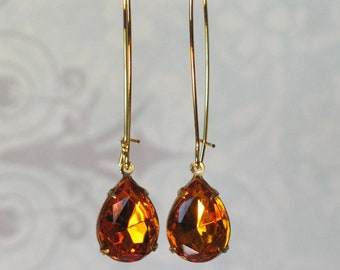 Vintage Amber Rhinestone Long Gold Earrings, Kidney wire Earrings